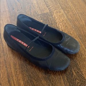 Prada Black Leather Mary Jane Ballet Flats Shoes